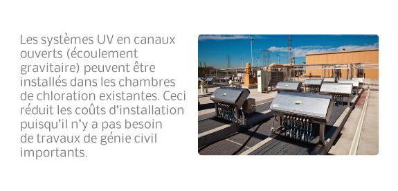 Les systèmes UV en canaux ouverts (écoulement gravitaire) peuvent être installés dans les chambres de chloration existantes