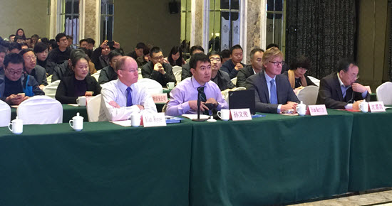 TrojanUV representatives taking part in panel discussion at the second international workshop for drinking water UV-AOP (Ultraviolet – Advanced Oxidation Process) treatment in Jinan, China.