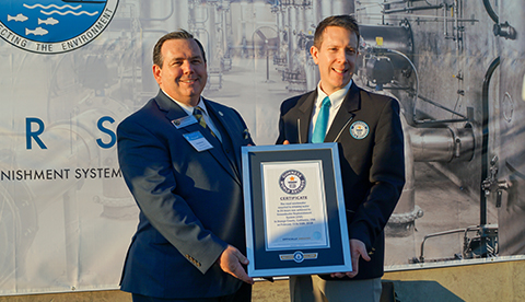 OCSD Board Chairman and GWRS Steering Committee Vice-Chair Greg Seabourn with official Guinness World Records adjudicator.