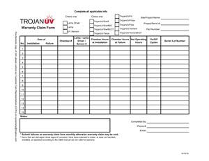 Closed-vessel TrojanUV system parts warranty form