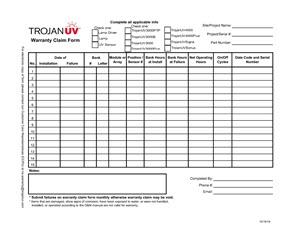 Open Channel TrojanUV system parts warranty form